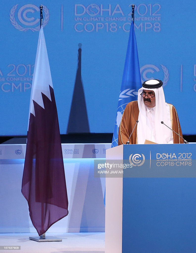 The Emir of Qatar Sheikh Hamad bin Khalifa al-Thani speaks during the opening ceremony of Plenary Session of the High-Level Summit of the United Nations Framework Convention on Climate Change (UNFCCC) in Doha on December 4, 2012.