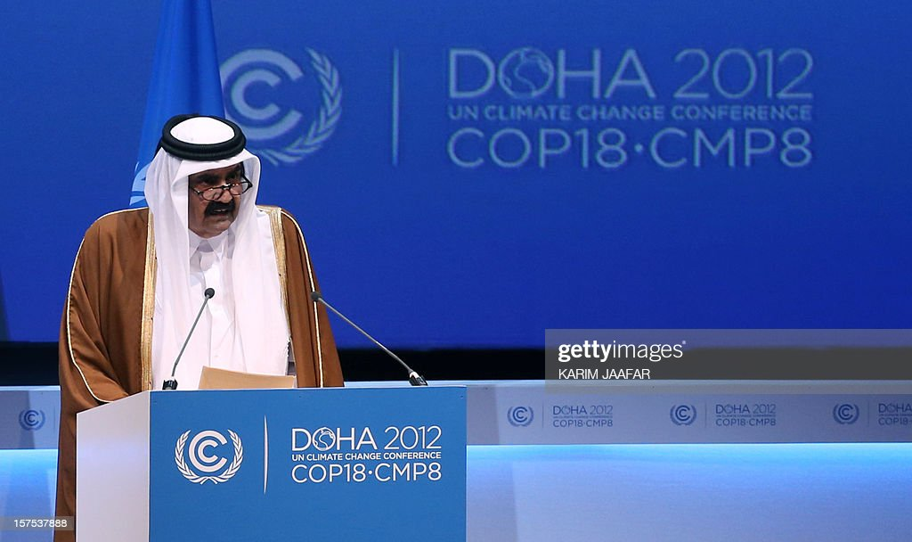 The Emir of Qatar Sheikh Hamad bin Khalifa al-Thani talks during the opening ceremony of Plenary Session of the High-Level Summit of the United Nations Framework Convention on Climate Change (UNFCCC) in Doha on December 4, 2012. AFP PHOTO/KARIM JAAFAR -AL-WATAN DOHA == QATAR OUT ==