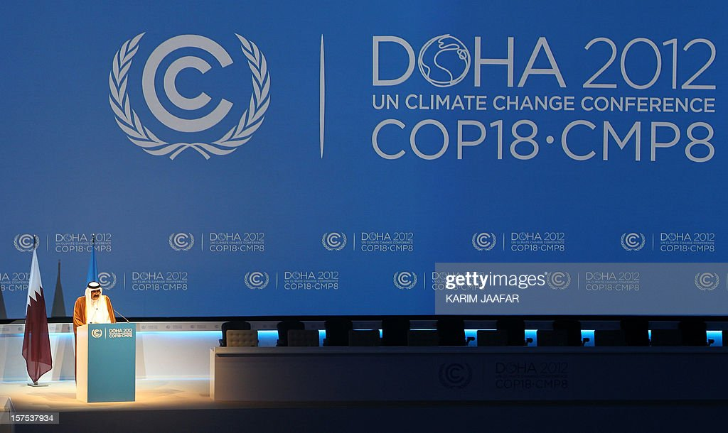 The Emir of Qatar Sheikh Hamad bin Khalifa al-Thani talks during the opening ceremony of Plenary Session of the High-Level Summit of the United Nations Framework Convention on Climate Change (UNFCCC) in Doha on December 4, 2012.