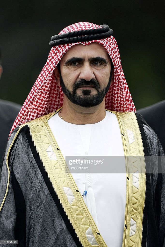 The Emir Sheikh Mohammad bin Rashid Al Maktoum of Dubai attends a Passing Out Parade at Sandhurst Military Academy on August 11 2006 in Surrey England