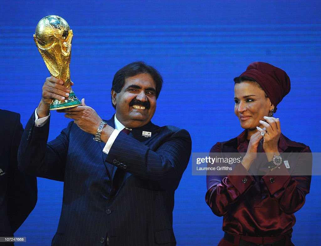The Emir State of Qatar HH Sheikh Hamad bin Khalifa Al-Thani and Sheikha Mozah bint Nasser Al Missned are presented with the World Cup Tophy after winning the bid for 2022 during the FIFA World Cup 2018 & 2022 Host Countries Announcement at the Messe Conference Centre on December 2, 2010 in Zurich, Switzerland.