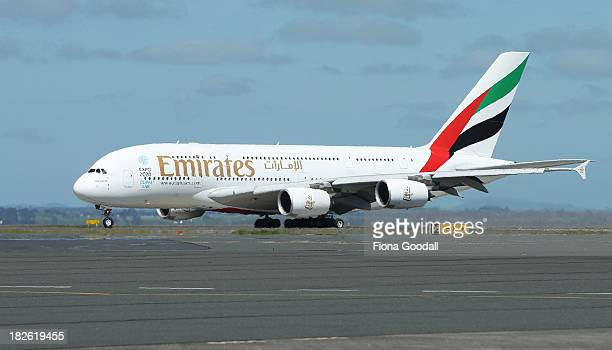 The Emirates A380 arrives on October 2 2013 in Auckland New Zealand Emirates now offers an A380 service from Dubai via Brisbane to Auckland bringing...