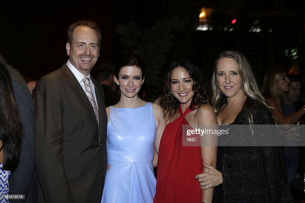 EVENTS -- 'The Emmy Party' -- Pictured: (l-r) Bob Greenblatt, Chairman, NBC Entertainment; From 'Grimm', Bitsie Tulloch, Bree Turner; Jennifer Salke, President, NBC Entertainment at Boa Steakhouse, September 21, 2013 --