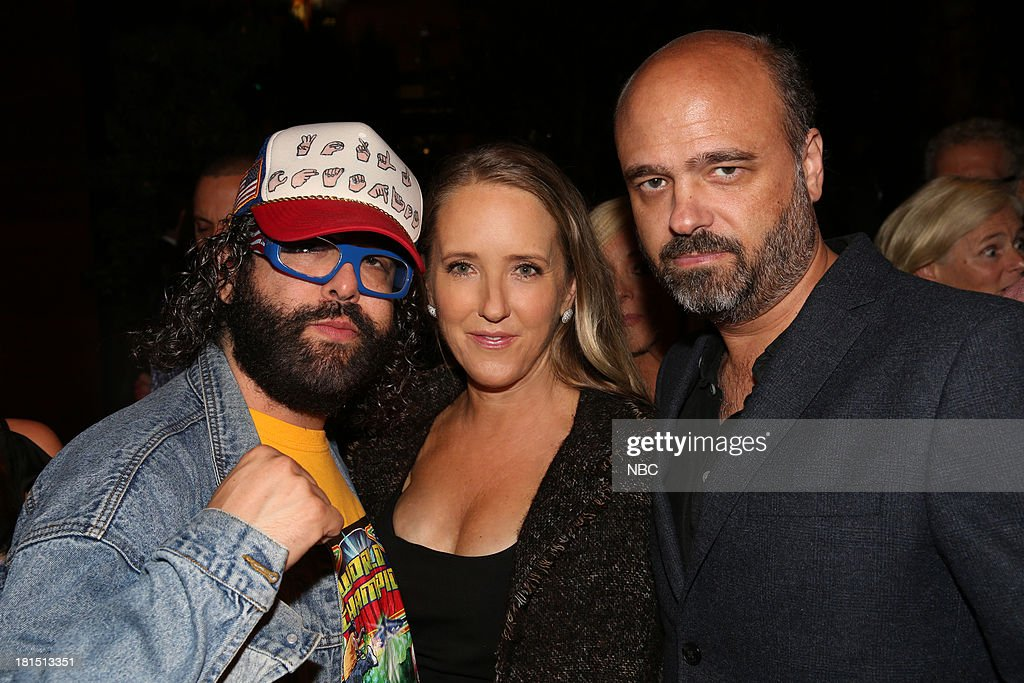 EVENTS -- 'The Emmy Party' -- Pictured: (l-r) Judah Friedlander from '30 Rock'; Jennifer Salke, President, NBC Entertainment; Scott Adsit from '30 Rock' at Boa Steakhouse, September 21, 2013 --