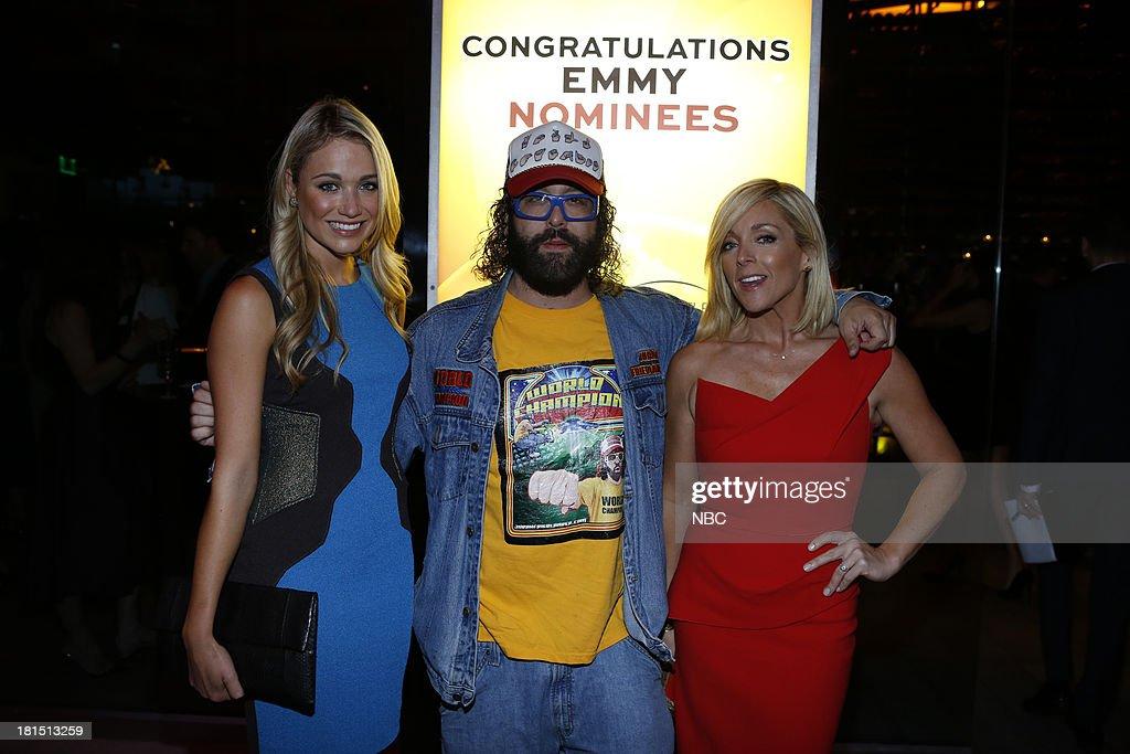 EVENTS -- 'The Emmy Party' -- Pictured: (l-r) Katrina Bowden, Judah Friedlander, Jane Krakowski from '30 Rock' at Boa Steakhouse, September 21, 2013 --
