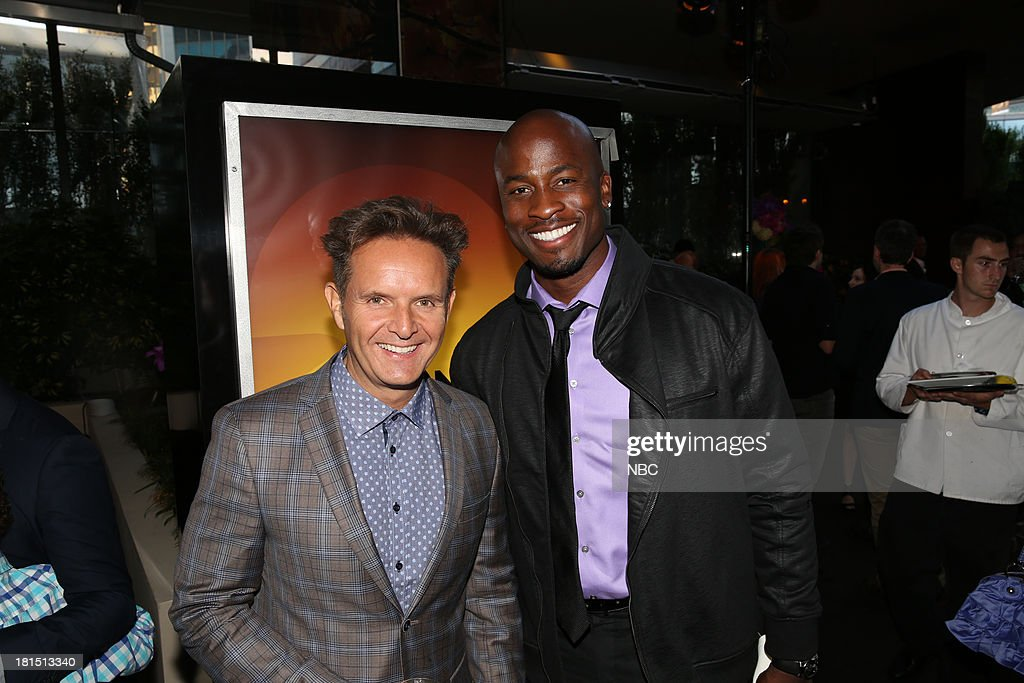 EVENTS -- 'The Emmy Party' -- Pictured: (l-r) Mark Burnett, Executive Producer of The Voice; Akbar Gbajabiamila from 'American Ninja Warrior' at Boa Steakhouse, September 21, 2013 --