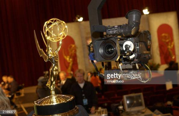 The Emmy statue is seen during the 55th Annual Primetime Emmy Award Nominations at the ATAS' Leonard H Goldenson Theatre July 17 2003 in North...