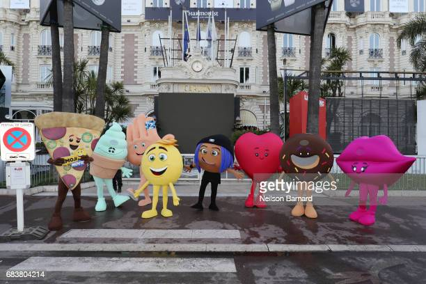 'The Emoji Movie' characters pose at the start of the 70th Cannes Film Festival at The Carlton Pier on May 16 2017 in Cannes France