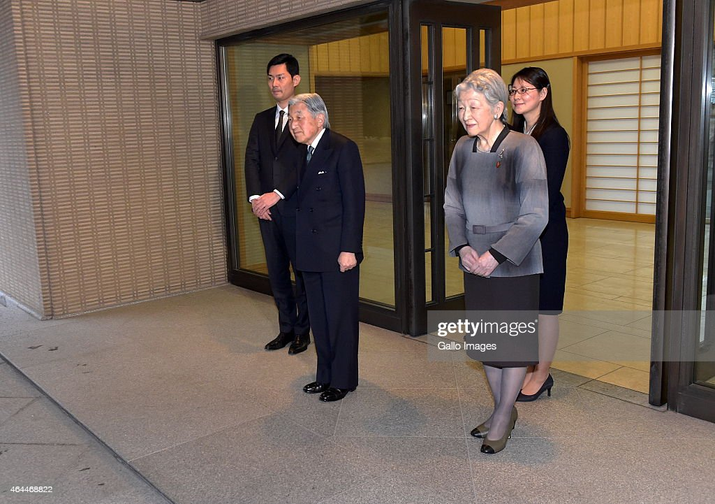 TOKYO, JAPAN FEBRUARY 26(SOUTH AFRICA OUT): The Emperor Akihito and <a gi-track='captionPersonalityLinkClicked' href=/galleries/search?phrase=Empress+Michiko&family=editorial&specificpeople=158725 ng-click='$event.stopPropagation()'>Empress Michiko</a> of Japan waiting for the President of Poland, <a gi-track='captionPersonalityLinkClicked' href=/galleries/search?phrase=Bronislaw+Komorowski&family=editorial&specificpeople=836872 ng-click='$event.stopPropagation()'>Bronislaw Komorowski</a> and the First Lady, Anna Komorowski on February 26, 2015 at the Imperial Palace, in Tokyo, Japan.