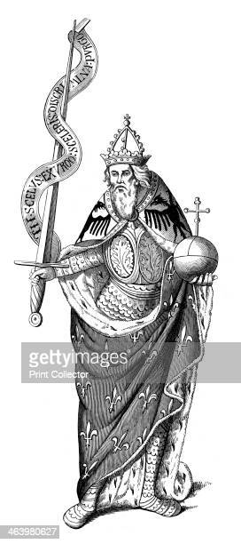 The Emperor Charlemagne 1849 The Motto In scelus exurgo sceleris discrimina purgo is written on a scroll round the sword held in his right hand A...