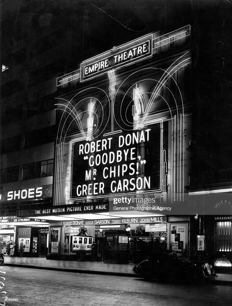 The Empire cinema in Leicester Square London showing 'Goodbye Mr Chips' with Greer Garson and Robert Donat