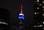 The Empire State building is lighted up in the colors of the French flag to pay tribute to those that lost their lives in the terrorist attacks at...