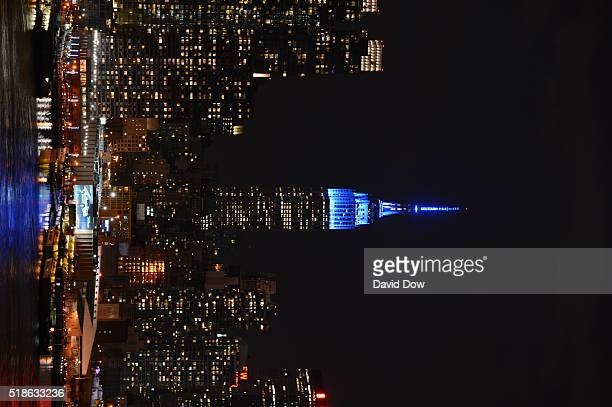 The Empire State Building is lit in blue in Celebration Of World Autism Awareness Day on April 1 2016 in New York City New York NOTE TO USER User...