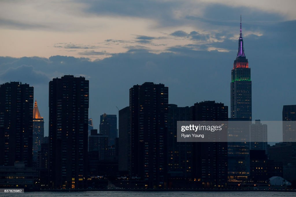 The Empire State Building is lit up in FedEx colors to commemorate the beginning of THE NORTHERN TRUST and the FedEx Cup Playoffs on August 22, 2017 in New York City, New York.