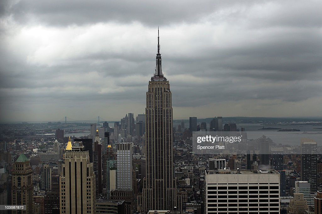 The Empire State Building is viewed from the observation deck at Rockefeller Center on August 24, 2010 in New York City. A proposed tower on 34th Street would stand only 900 feet away from the iconic Empire State Building if it were to be completed. The new tower, which would be built at 15 Penn Plaza, has drawn criticism from the owners of the 102-storey Empire State Building, who say that at its current proposed height it would be just 34 feet shorter than the Empire State building and would severely alter the view of the Manhattan skyline. Standing at 1,250 feet at the 102nd floor, the Empire State building is currently the tallest building in New York.