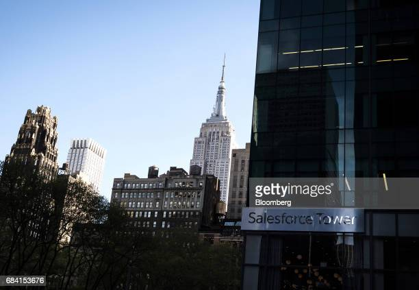 The Empire State building stands past Salesforce Tower in New York US on Friday April 28 2017 Salesforcecom Inc is scheduled to release earning...
