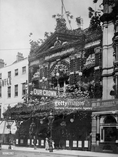 The Empire Theatre in Leicester Square London decorated with a multitude of flowers for the Coronation of Edward VII