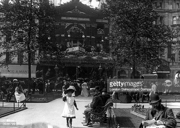 The Empire Theatre in Leicester Square London with decorations for the coronation of Edward VII