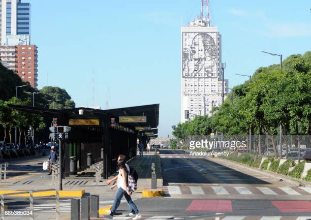 The empty city streets are seen during the national CGT strike and the CTA against the economic policies of the government of Argentine President...