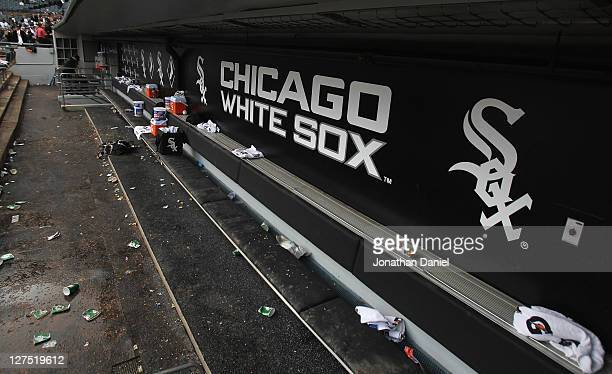 The empty dugout is seen after the last game of the season between the Chicago White Sox and the Toronto Blue Jays at US Cellular Field on September...