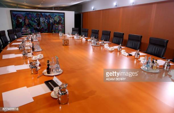 The empty federal cabinet meeting room is seen prior to the arrival of ministers for the weekly cabinet meeting in Berlin on November 22 2017 / AFP...