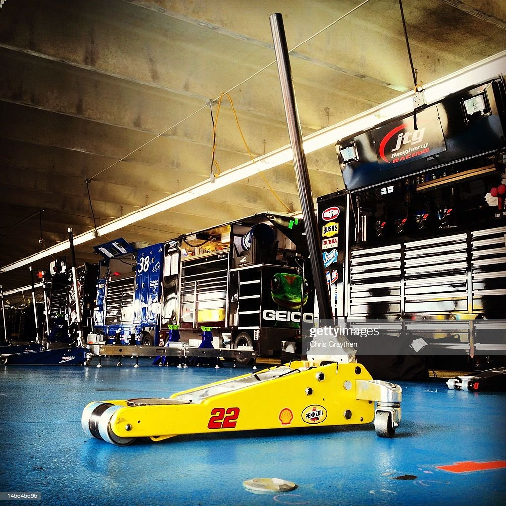 The empty garage area of AJ Allmendinger, driver of the #22 Shell/Pennzoil Dodge is seen after practice for the NASCAR Sprint Cup Series Coca-Cola 600 at Charlotte Motor Speedway on May 26, 2012 in Concord, North Carolina.