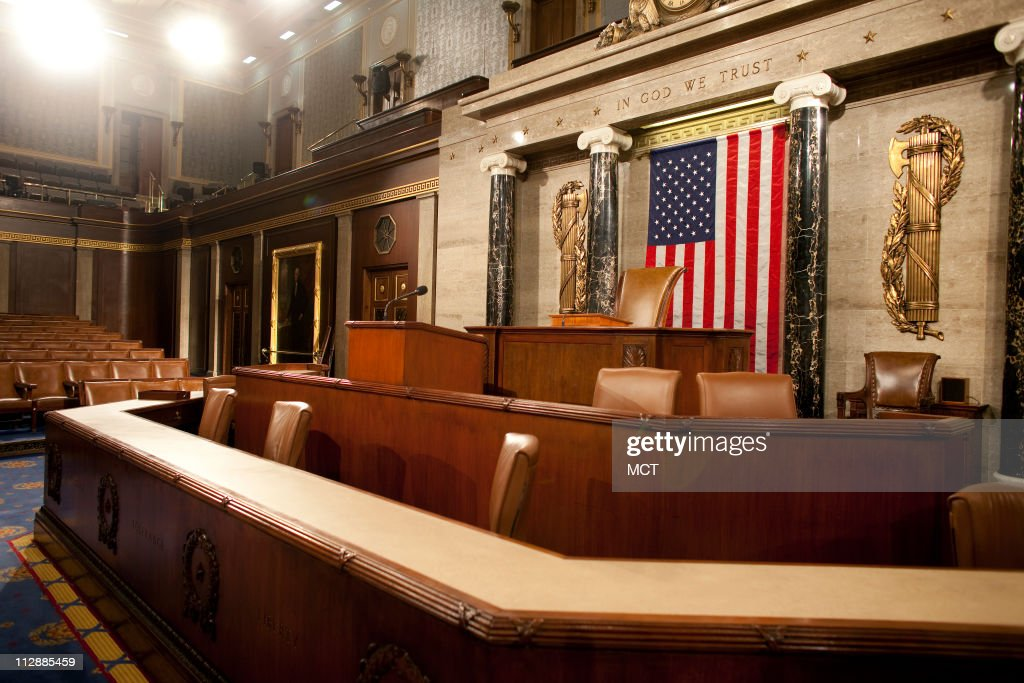 The empty House Chamber of the US Capitol Building in Washington DC is photographed on the morning of December 8 2008