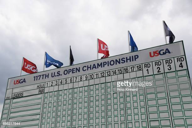 The empty leader board is displayed during a practice round prior to the 2017 US Open at Erin Hills on June 12 2017 in Hartford Wisconsin