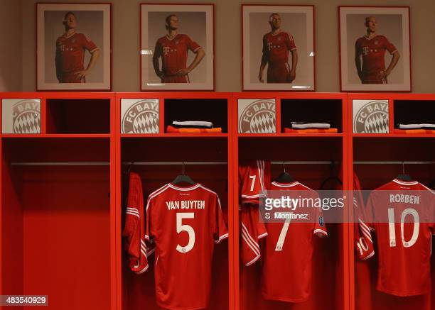 The empty locker of suspended Bastian Schweinsteiger of Bayern Muenchen is displayed ahead of the UEFA Champions League quarter final second leg...