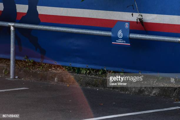 The empty parking place of Marco Verratti of PSG during the first preseason training session of Paris SaintGermain on July 4 2017 in Paris France