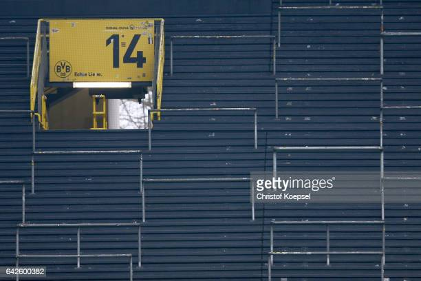 The empty sout tribune is seen during the Bundesliga match between Borussia Dortmund and VfL Wolfsburg at Signal Iduna Park on February 18 2017 in...