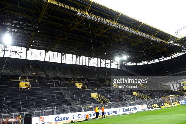 The empty south tribune prior to the Bundesliga match between Borussia Dortmund and VfL Wolfsburg at Signal Iduna Park on February 18 2017 in...