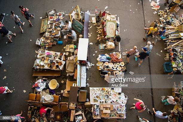 The Encants market in Barcelona city from overhead