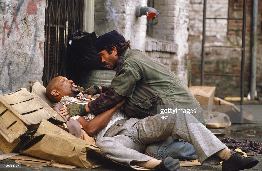 BLUES 'The End of Logan's Run' Episode 417 Pictured Nick Savage as Pickpocket James Logan Bruce Weitz as Det Mick Belker