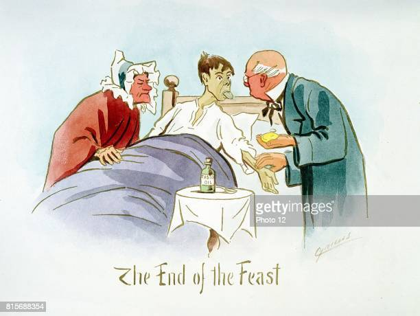 The End of the Feast' Boy in bed shows furred tongue to doctor who feels pulse On table is bottle of castor oil which will be given as a laxative...