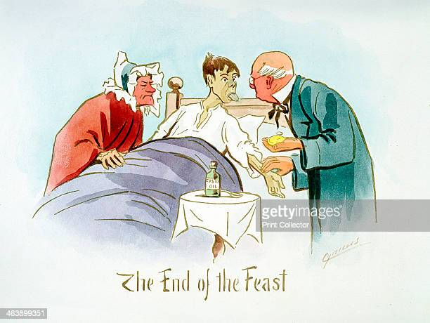 'The End of the Feast' c1895 A boy in bed shows his furred tongue to a doctor who feels the boy's pulse On the table is bottle of castor oil which...