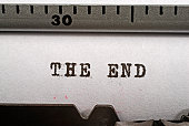 'The end', typed on an old manual typewriter
