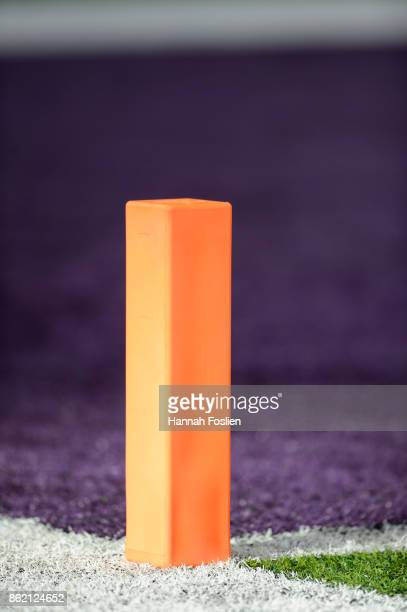 The end zone pylon is seen during the game between the Minnesota Vikings and the Green Bay Packers on October 15 2017 at US Bank Stadium in...
