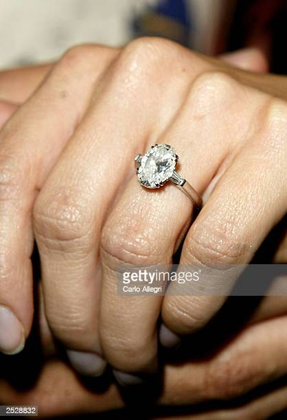 The engagement ring Andrew Firestone gave Jennifer Shefft seen as they arrive for the season launch party for The Bachelor at Pearl September 22 2003...