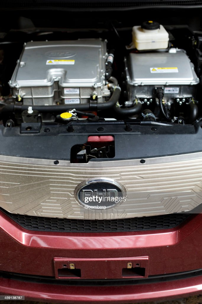 The engine compartment of a BYD Co. Ltd. e6 all-electric vehicle is shown in New York, U.S., on Friday, Dec. 20, 2013. BYD Co., the Chinese automaker part-owned by Berkshire Hathaway Inc., expects auto sales and profit to increase in the fourth quarter, a traditional peak season for car sales, driven by demand for models including the Speed sedan and S6 SUV. Photographer: Victor J. Blue/Bloomberg via Getty Images
