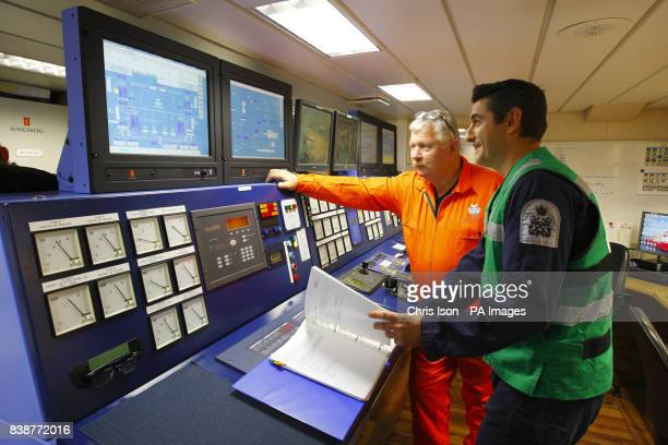 The engine control room of the Royal Navy's icebreaker HMS Protector which arrived at Portsmouth's Royal Naval Base for the first time today