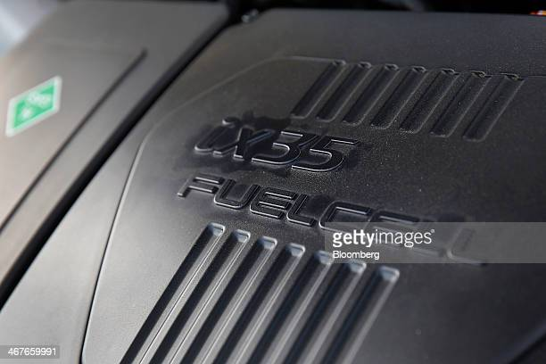 The engine is seen on a Hyundai Motor Co Tucson Fuel Cell vehicle outside the Hyundai Motor America headquarters in Fountain Valley California US on...