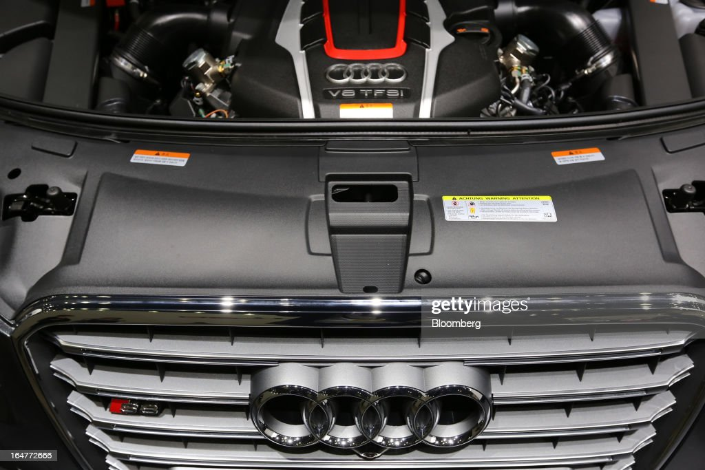 The engine of a Volkswagen AG Audi S8 vehicle is seen during the press day of the Seoul Motor Show in Goyang, South Korea, on Thursday, March 28, 2013. The show runs from today until April 7. Photographer: SeongJoon Cho/Bloomberg via Getty Images