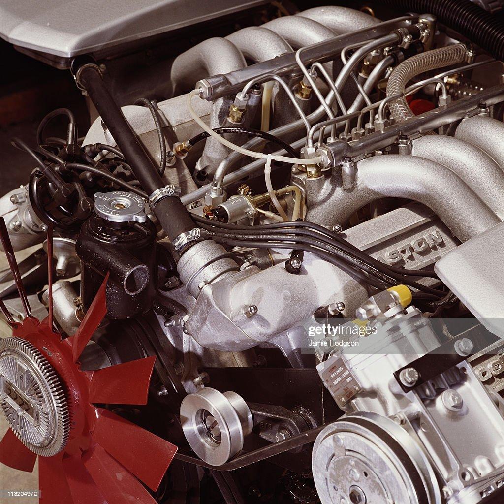The engine of an Aston Martin, circa 1970.