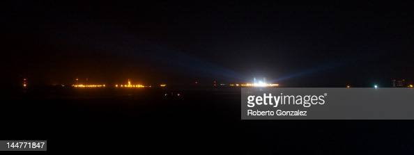 The engines of the SpaceX Falcon 9 light but fail to launch from the Cape Canaveral Air Force Station on May 19 2012 in Titusville Florida The launch...