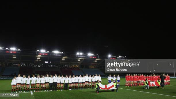 The England and Canada Women teams line up for the national anthems prior to the Old Mutual Wealth Series match between England Women and Canada...