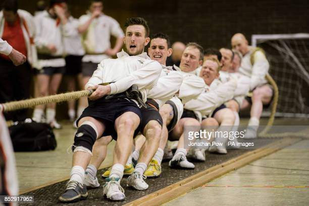 The England 'B' Tug of War squad compete during the 600 and 680 kilo international categories during the UK indoor Tug of War Championships 2014 at...