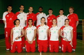 The England Badminton squad poses for a picture at the National Badminton Centre on February 23 2011 in Milton Keynes England