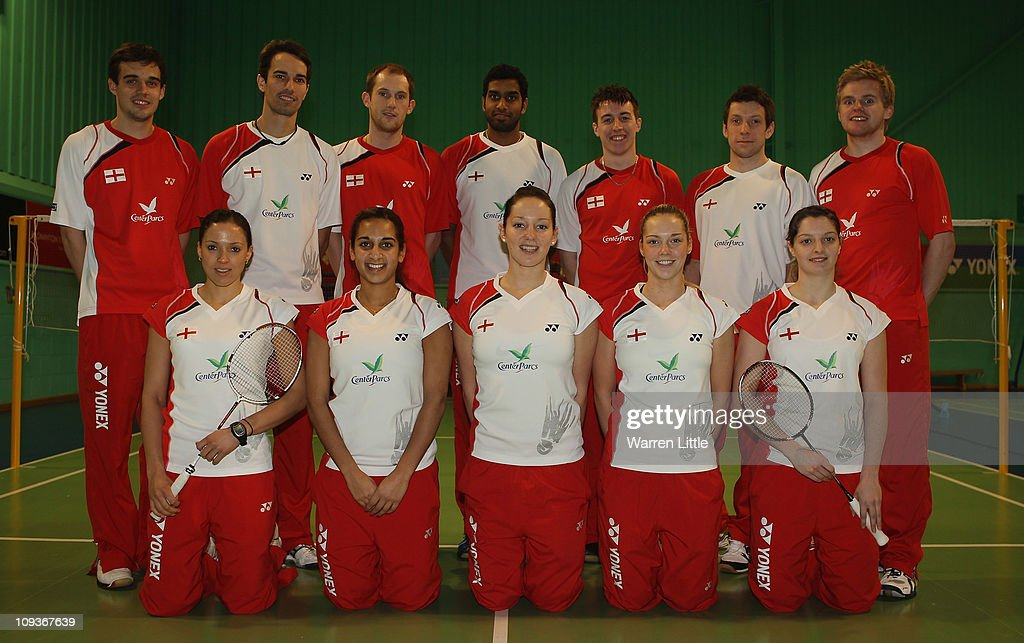 The England Badminton squad poses for a picture at the National Badminton Centre on February 23, 2011 in Milton Keynes, England.