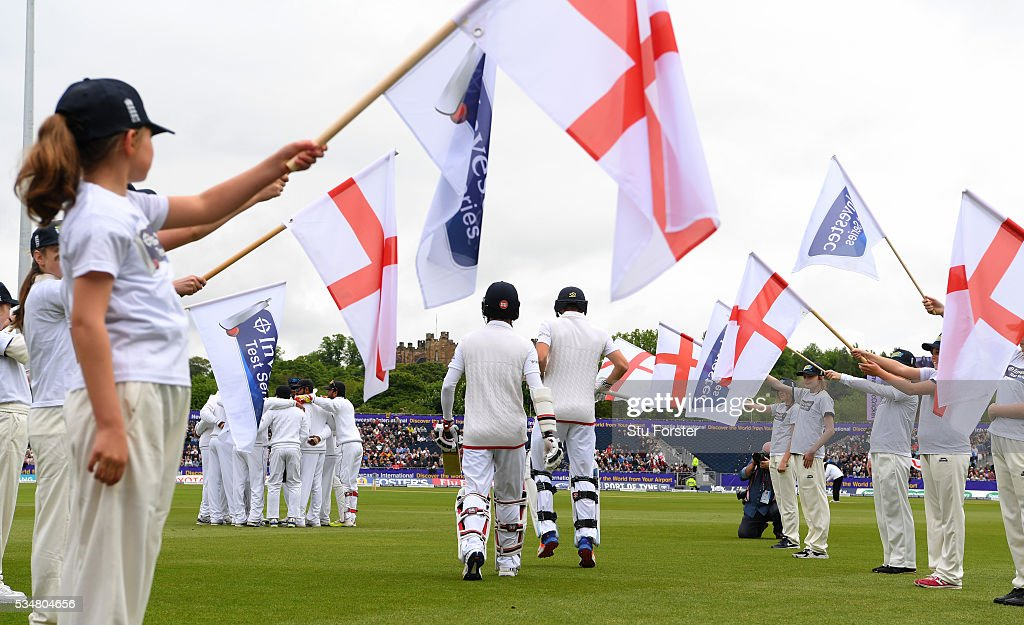 The England batsmen make thie way onto the field in the shadow of Lumley Castle before day two of the 2nd Investec Test match between England and Sri Lanka at Emirates Durham ICG on May 28, 2016 in Chester-le-Street, United Kingdom.